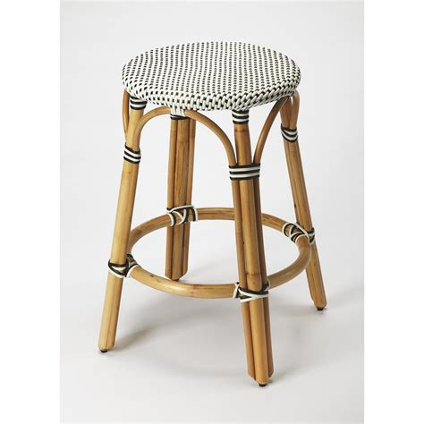 White Rattan Counter Stools by Butler Tobias Black White Rattan Counter Stool