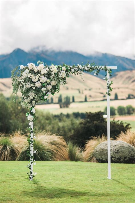 Wedding Arch New Zealand by White Green New Zealand Mountain Wedding Aisle Society