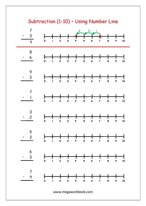 printable number line subtraction worksheets free math worksheets subtraction megaworkbook