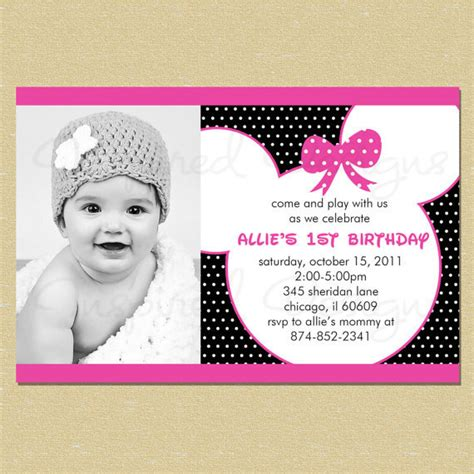 minnie mouse 1st birthday invitations templates minnie mouse birthday quotes quotesgram