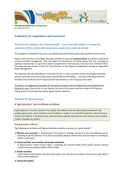 rapporteur report template session 6 guidelines for rapporteurs and conveners