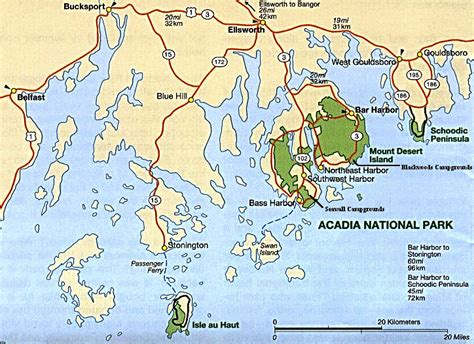 acadia national park map acadia national park tourism travel hotel motel attraction and vacation guide