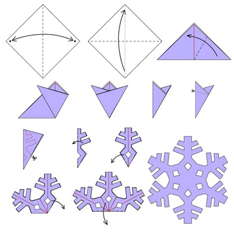 Folded Paper Snowflake - snowflake of animated origami how