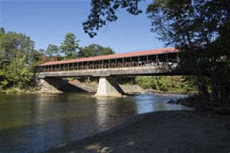 the saco river covered bridge in conway, new hampshire