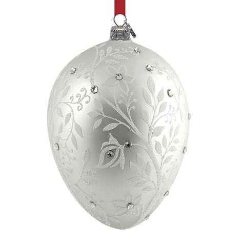 silver mistletoe egg reed and barton blown glass