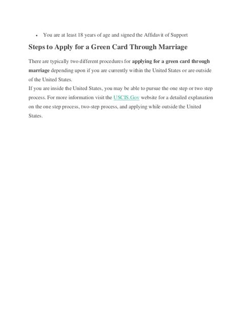 Letter Support Green Card Marriage How To Apply For A Green Card Through Marriage