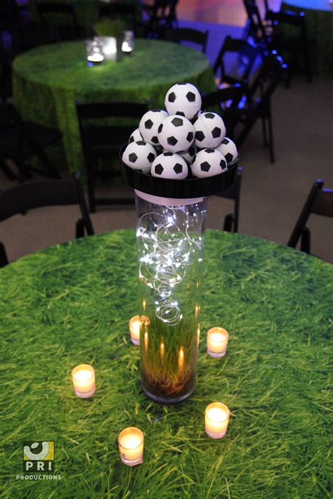 soccer centerpiece for a sports themed bar mitzvah bat
