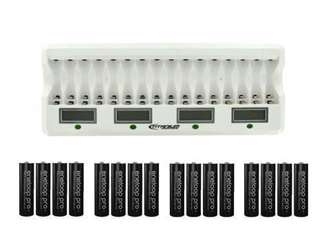 Charger Panasonic Eneloop 2 Hours Eneloop Pro 2500mah Isi 4 titanium 16 bay ni mh aa charger with 16 eneloop aa batteries raycom