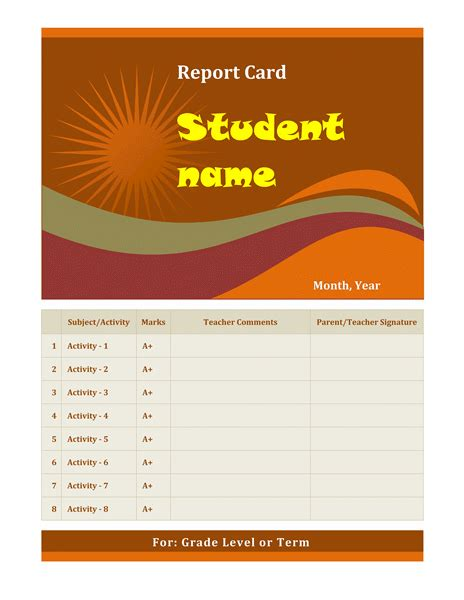 school report card design template cards office