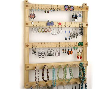 earring holder jewelry organizer hanging wood basswood 2