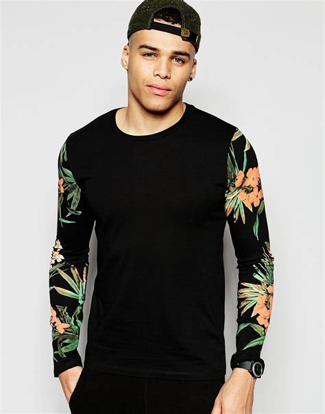 Print Sleeves T Shirt asos sleeve t shirts with floral print sleeves in