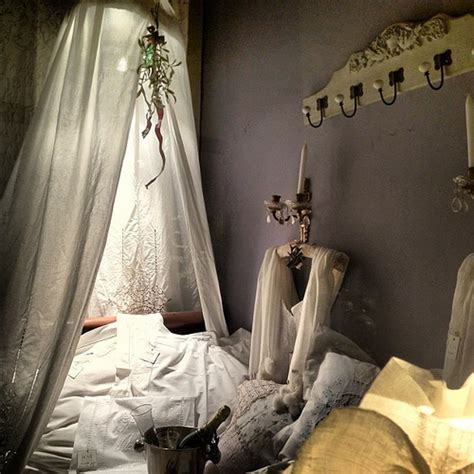 Four Poster Canopy Bed Curtains lace canopy bed dreamy store window display linen
