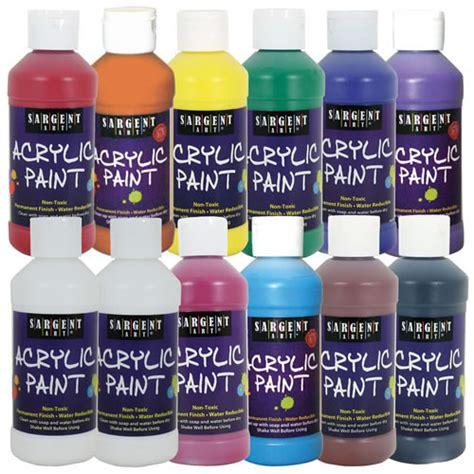 sargent acrylic paint pots acrylic paint set of 12 8 oz assorted colors by