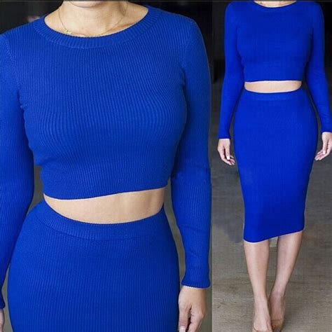 2pcs Thick Sweater Dress 4917 Blue womens 2 sleeve thick bodycon crop tops skirt