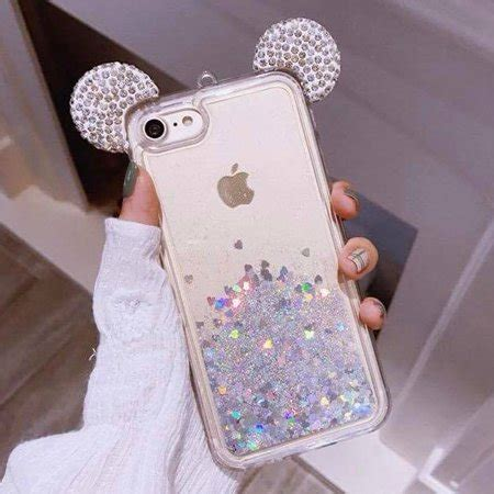 iphone   iphone    holographic silver mickey ears glitter waterfall liquid case