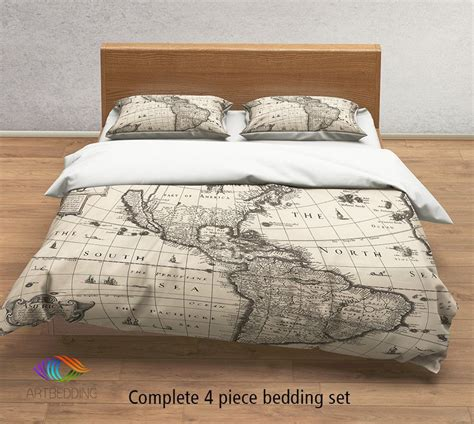 map comforter set vintage map bedding vintage america old map duvet cover