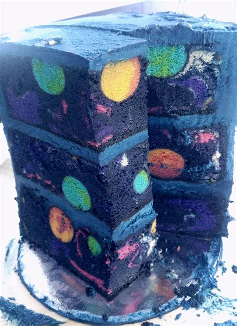 cakes in space space cake with a hidden galaxy inside bored panda