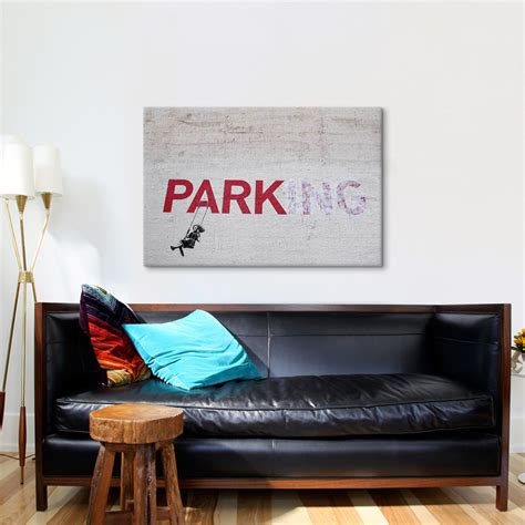 banksy parking girl swing parking girl swing 18 quot w x 26 quot h x 0 75 quot d banksy touch