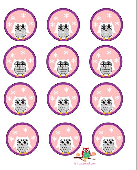 free printable cute owl cup cake toppers