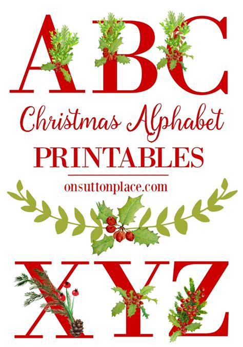 Christmas Alphabet Printables On Sutton Place Free Merry Letter Template