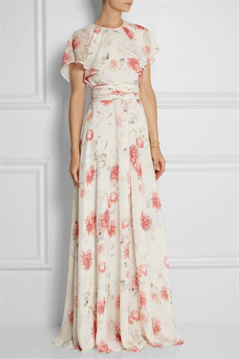 Wst 19267 White Floral Fluted Dress Size S M L lyst giambattista valli floral print silk georgette gown