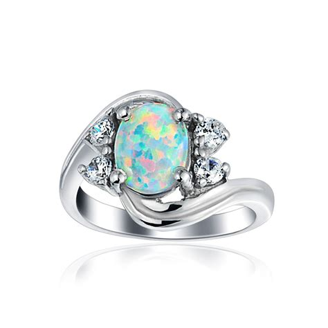 Vintage CZ Sterling Silver Opal Engagement Ring