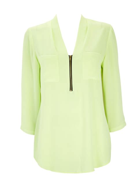 Blouse Green Lime wallis lime zipe front blouse in green lyst