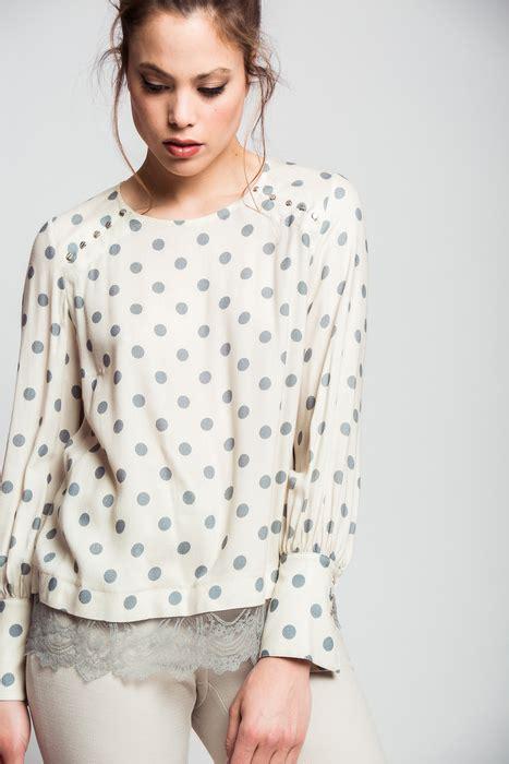 puntilla blusa de mangas de viro blusa lunares con puntilla en bajo