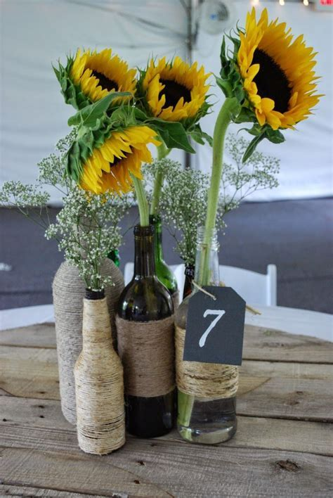 Unique Twine Wrapped Wine Bottle centerpieces With