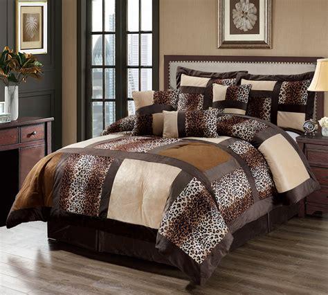 leopard king comforter set 7 piece cal king leopard patchwork micro suede comforter