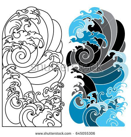 japanese wave tattooocean tattoo arm stock vector