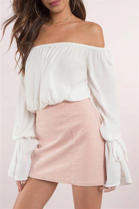 Blouse Sabrina Top Shoulder Blouse top shoulder top bell sleeve top black blouse tobi