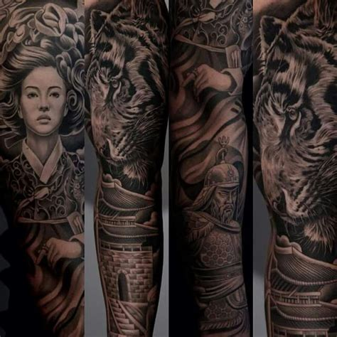 geisha tattoo background jun cha tiger geisha samurai tattoo ideas pinterest