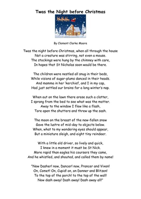 printable version twas the night before christmas twas the night before christmas poem printable fun for
