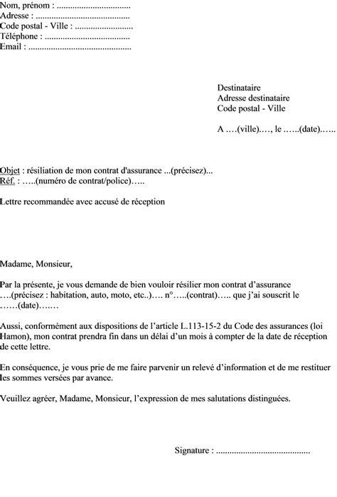 Lettre De Résiliation Mobile Loi Chatel assurance auto resiliation exemple de lettre de r