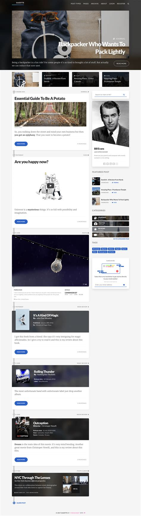 minimal responsive template gazette minimal responsive template by visualnaut