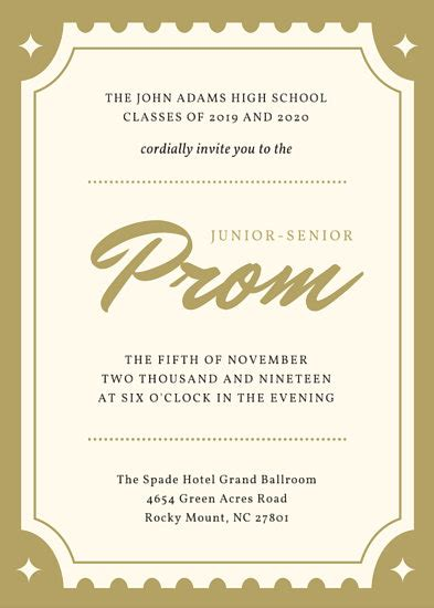 Golden Ticket Hollywood Prom Invitation Portrait Templates By Canva Prom Ticket Template Free