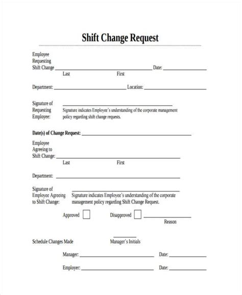 Sle Employee Shift Change Forms 7 Free Documents In Word Pdf Work Schedule Change Request Form Template