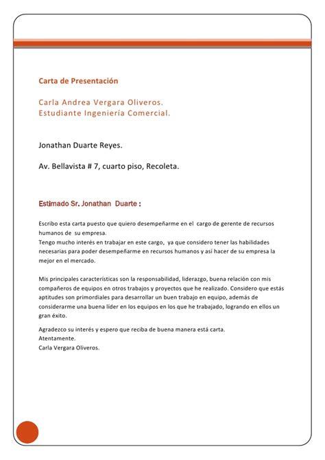 Modelo De Carta De Presentacion Para Enviar Un Curriculum Carta De Presentaci 243 N