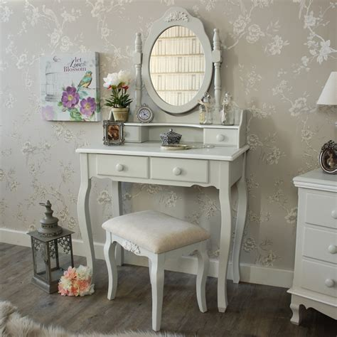 vintage dressing table with mirror and stool grey white dressing table mirror stool set shabby vintage