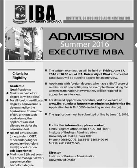Uw Executive Mba Tuition by Dhaka Iba Emba Admission Circular Result 2017