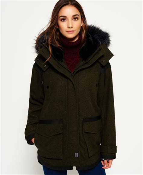 fjord ovoid parka coat womens fjord ovoid parka coat in khaki superdry