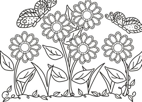 Butterfly And Flower In The Garden Colouring Butterfly In The Garden Colouring Pages