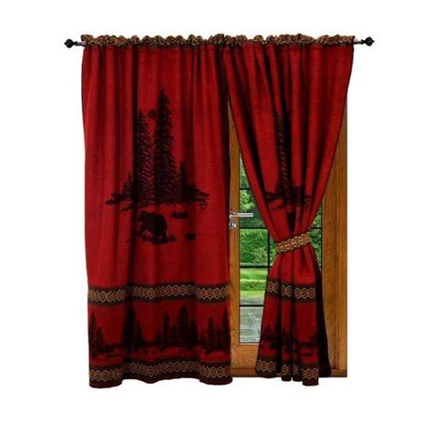 Wooded Cabin Bear Red Curtains Set [rustic mountain lodge]