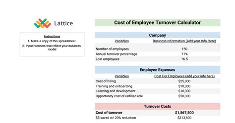 Employee Turnover Calculator Google Sheets Employee Turnover Calculation Template