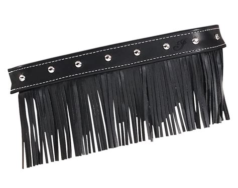 Fringe Leather indian only black leather motorcycle floorboard trim w