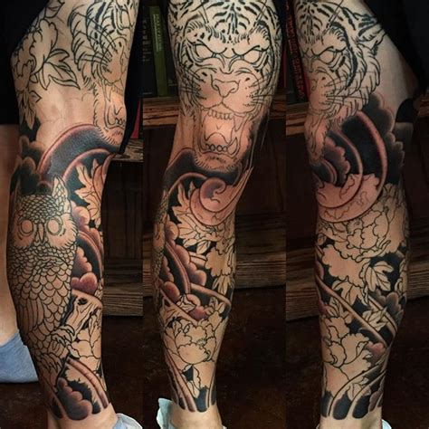leg sleeve in progress by george bardadim tattoo artist