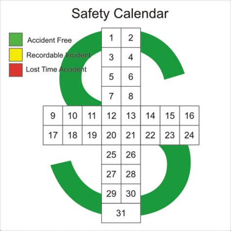 safety calendar template safety cross daily erase board industry visuals