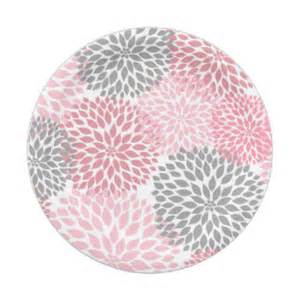 pink gray dahlia baby shower bridal plate 7 inch paper plate