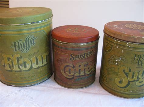 vintage 3 tin kitchen canister set fluffy flour advertising